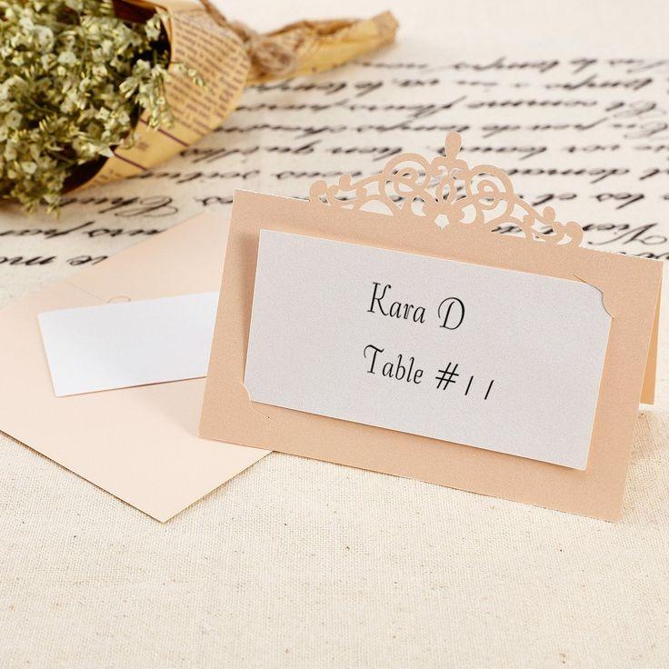 50x carte de siège porte-nom marque-place couronne impériale champagne nacré + blanc pour mariage banquet cérémonie: Amazon.fr: Cuisine & Maison