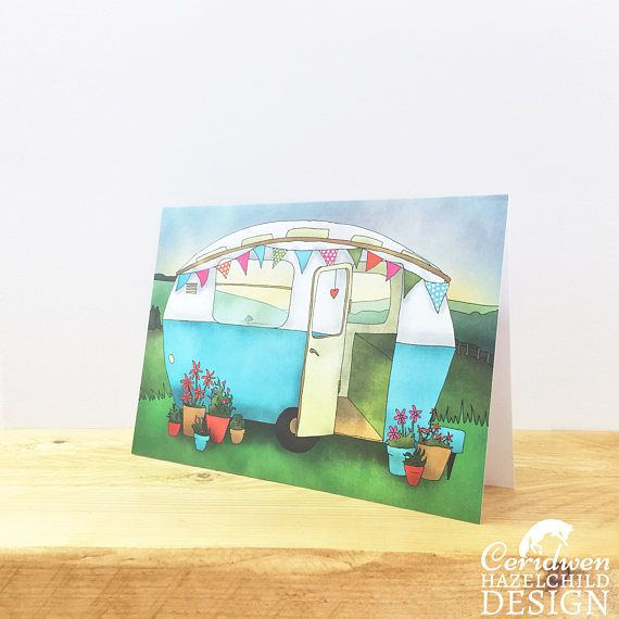 Vintage Caravan Greeting Card Blank Card Birthday Card Thank You Card Easter Card Good Luck Card New Home Card by ceridwenDESIGN http://ift.tt/25nUIQt