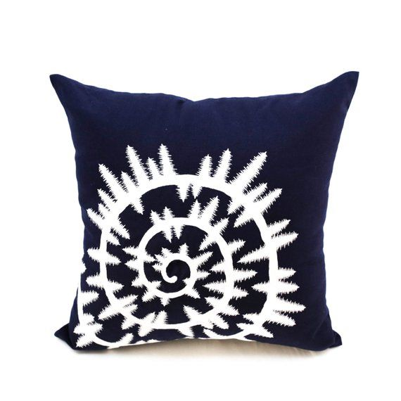 Embroidered Nautical Decor Throw Pillow