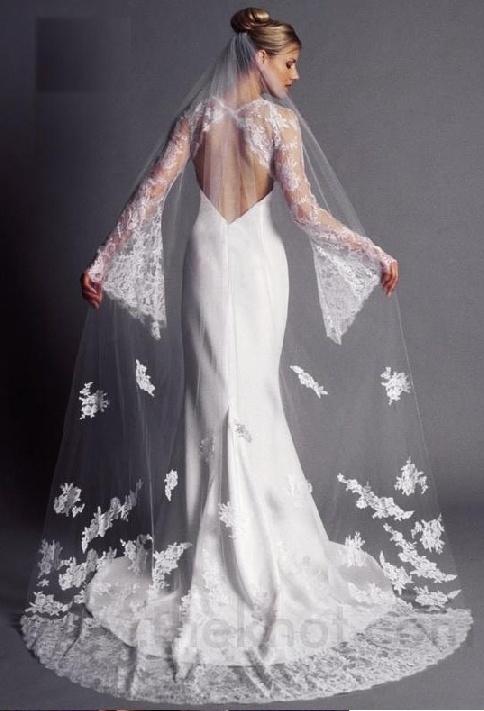 Vestido de novia con espalda descubierta con un velo de tul con detalles bordados