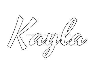 kayla baby girl name stencil in cursive namestencilscom - Name Coloring Page