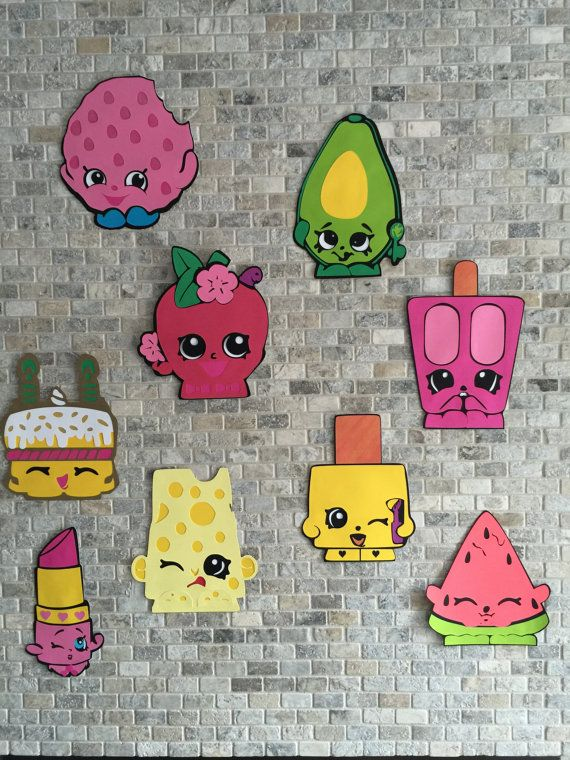 9 Shopkins Wall Decorations, Birthday Party Decoration,