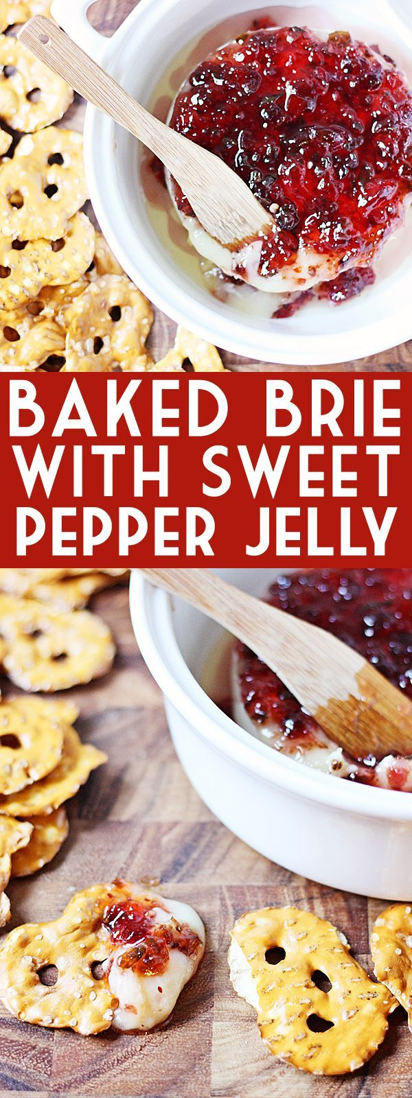 Baked Brie with Sweet Pepper Jelly -- Baked brie with sweet pepper jelly makes for the most melty, cheesy, peppery, sweet appetizer. Serve with your favorite crackers for the perfect appetizer! | isthisreallymylife.com