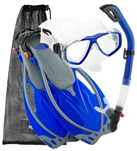 Snorkeling Dive Purge Mask Fins Dry Snorkel Gear Set, BL-LG. Available on line from www.lotustravelessentials.co.uk