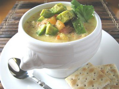 Chicken Corn Chowder Topped with Avocado and TomatoSour Cream, Chowders Soup Stew, Chicken Chowders, Soy Milk, Chicken Corn Chowders, Chowders Tops, Corn Chowders Soup, Tomatoes, Avocado Recipies