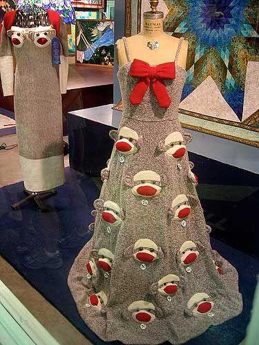 For the sock monkey formal.Sock Monkeys, Gowns, Socks Monkeys, Christmas Stockings, Prom Dresses, Sockmonkey, The Dresses, Monkeys Dresses, Knits Socks