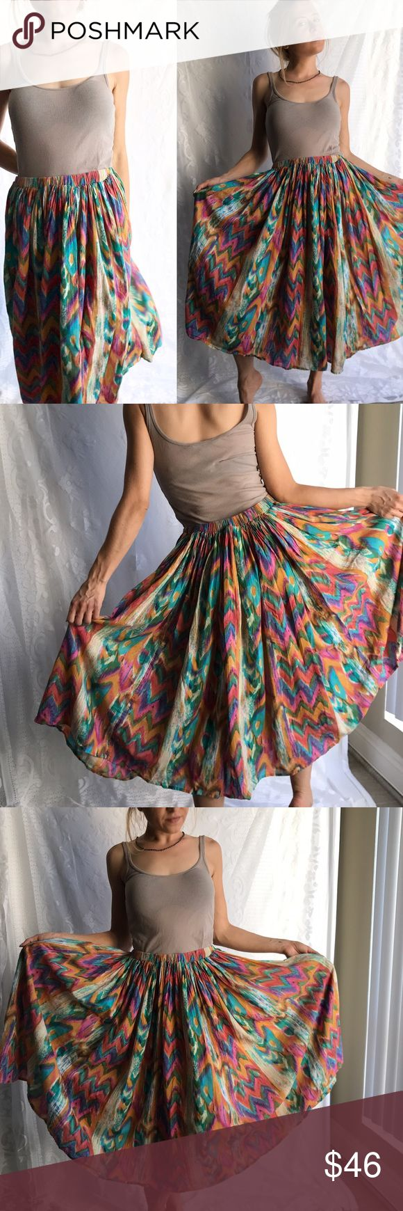Amazing Vintage Colorful Tribal Print Cotton Skirt Amazing vintage tribal print skirt, beautiful colors, one size fits most. Adjustable draw string inside waistline. 100% Cotton, made in India. Brand name Drapers & Damons, 1980s. Great condition. 💕✨ Vintage Skirts Midi