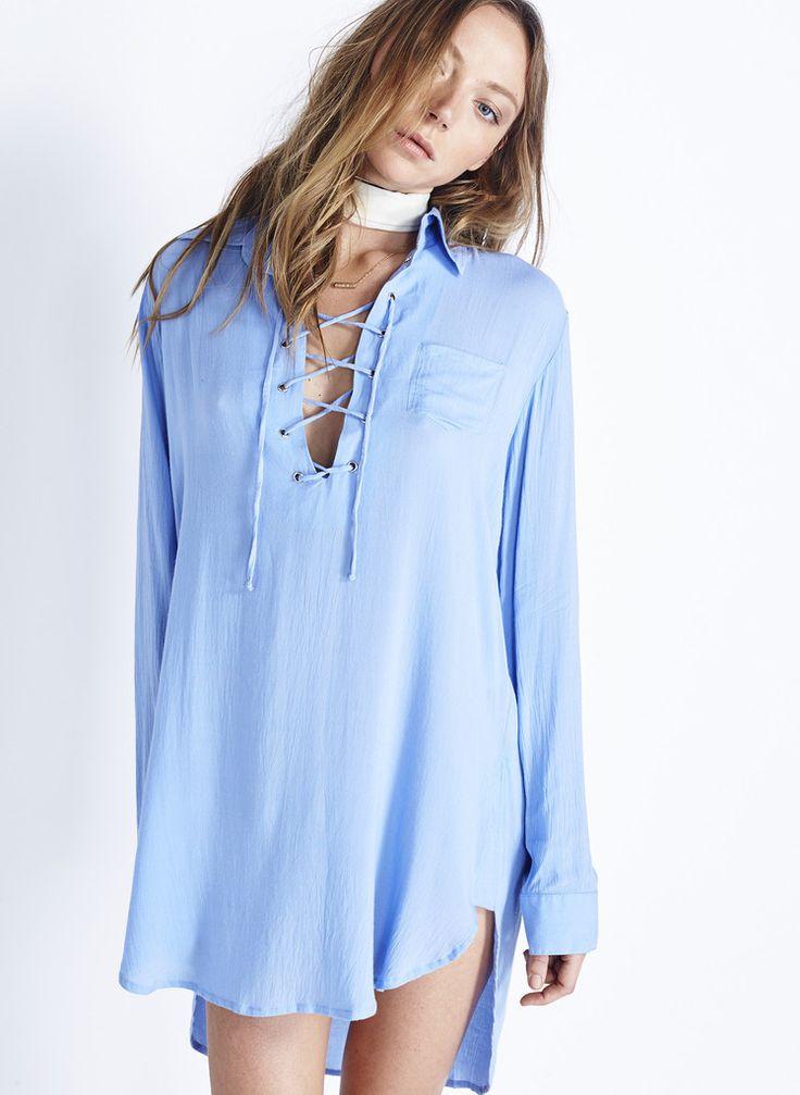 WALKER SHIRT DRESS - PLAIN SKY BLUE | FAITHFULL THE BRAND