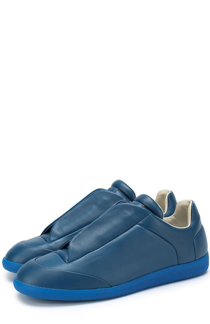 Мужские синие кожаные кеды future со скрытой шнуровкой Maison Margiela, сезон SS 2017, арт. S37WS0308/SX8966 купить в ЦУМ   Фото №1