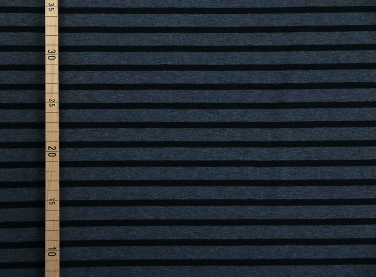 Jersey Streifen Schwarz auf Grau meliert 6/ 15 mm