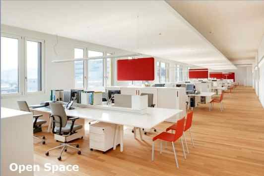 Burnt orange accent color open office space pinterest for Open space office