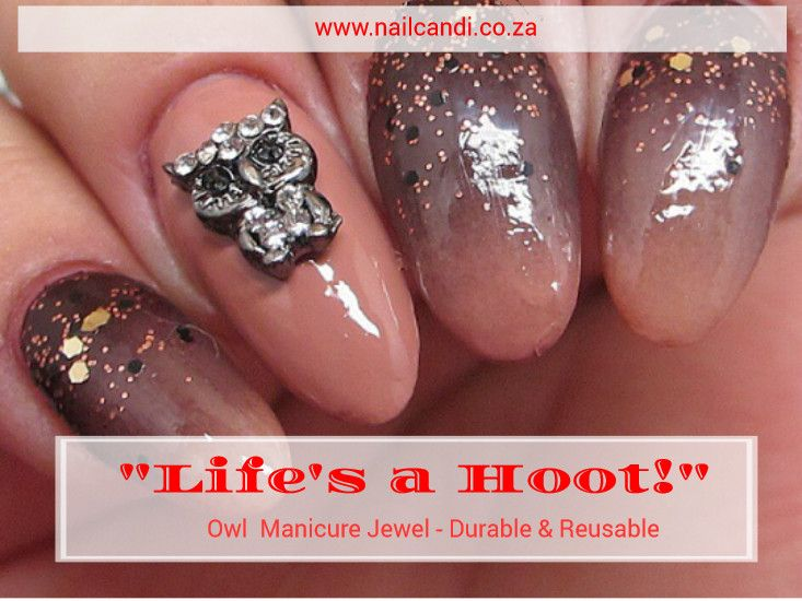"""""""Life's a Hoot"""" Owl Manicure Charm Available on our website www.nailcandi.co.za  The ONLY reusable nail art available!  #3DNailArt #NailArtCharms"""