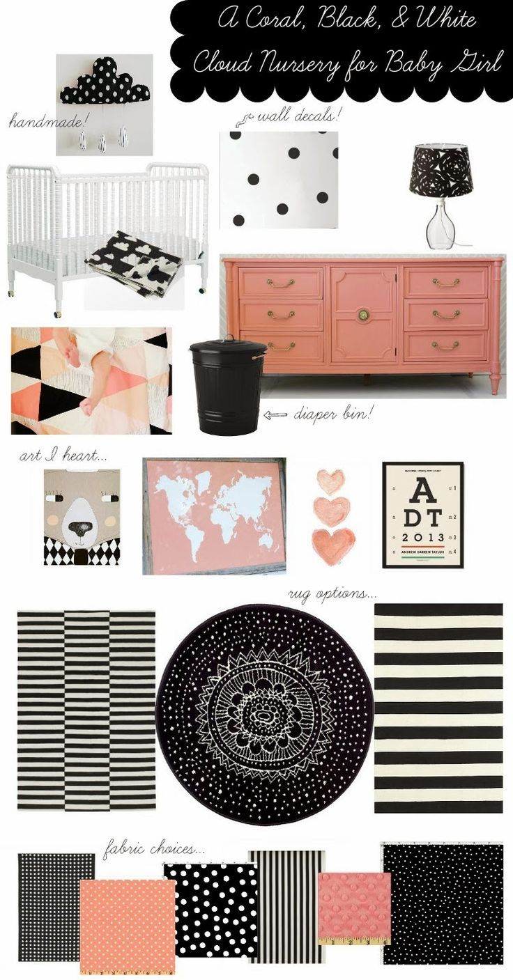 Love! A coral, black, and white nursery for a little girl via @Lacy Beckstrom Beckstrom Stroessner // LIVING ON LOVE