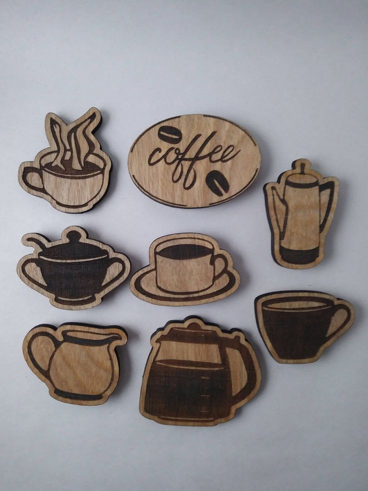 """Coffee magnet set - 2"""" wood engraved magnets - coffee time - kitchen refrigerator decoration - set of 8 - wooden designs by RobinHillMachine on Etsy #coffeedecoratingkitchen"""
