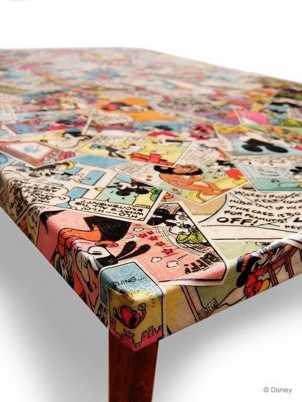 Do you have a comic-book fan on your gift list this season? How about DIYing them a decoupage table of their favorite characters?