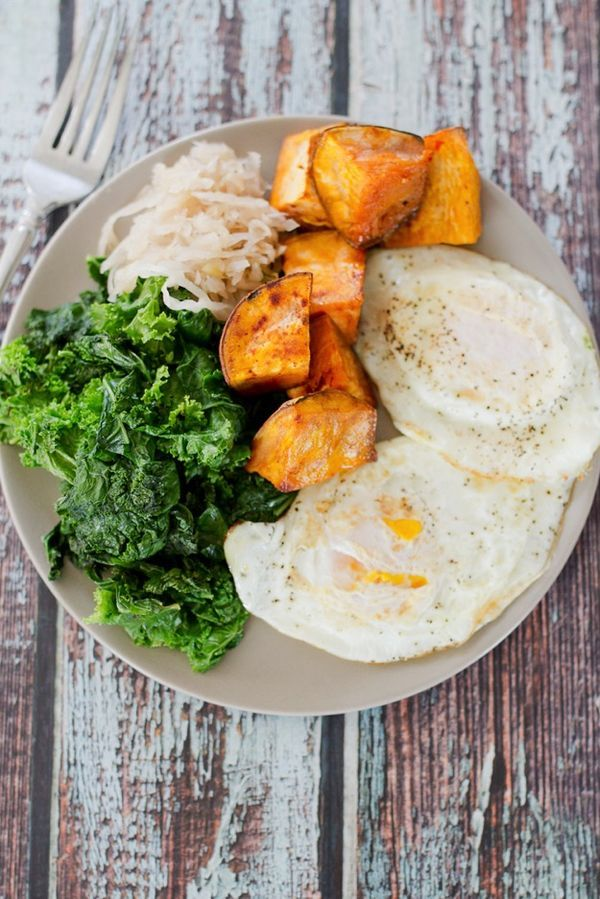 Hormone-balancing PALEO POWER BREAKFAST — it's loaded with green veggies, protein, healthy fats, wholesome carbs and has a fermented component. It's one of the healthiest breakfasts around!