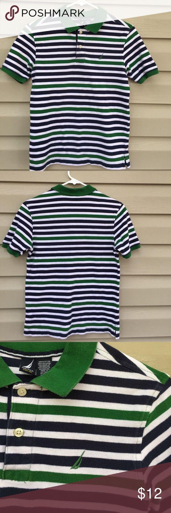 Nautica boys green/ navy striped polo shirt Nice boys striped polo 100% cotton, no stains or holes, or fading Nautica Shirts & Tops Polos