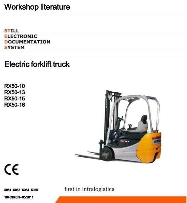 Original Illustrated Factory Workshop Service Manual for Still Electric Forklift Truck Type RX50-10, RX50-13, RX50-15, RX50-16.Included Electrical Circuit Diagrams !Original factory manuals for Still Forklift Trucks, contains high quality images, circuit diagrams and instructions to help you to oper