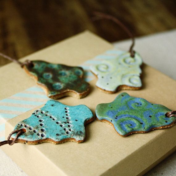 Glazed Ceramic Ornaments | FREE SHIPPING- Handmade ceramic christmas ornaments- Funky Trees