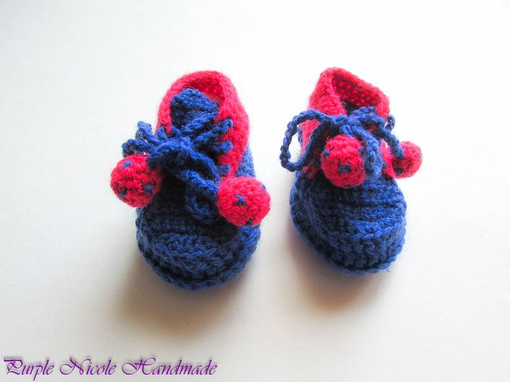 Cheerful - Handmade Crochet Boys and Girls Bootees by Purple Nicole (Nicole Cea Mov). Materials: bright pink and blue yarn.