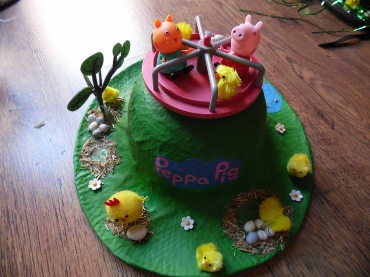 handmade peppa pig round~a~bout Easter bonnet | Peppa pig ...