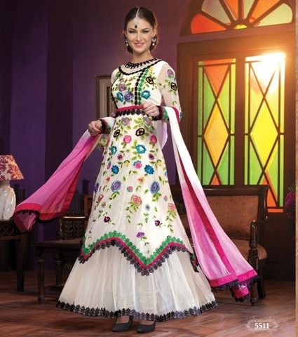 Heavy designer fancy White coloured semi stitched salwar suit