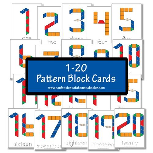 Free Printable 1-20 Pattern Block Cards for #homeschool #math #preschoool #kindergarten