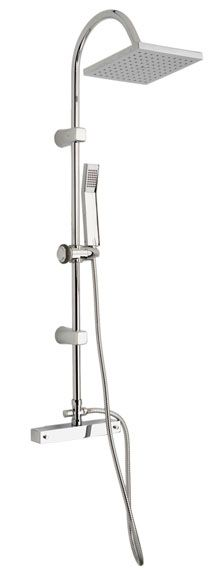 Propuesta de combinado de baño-ducha termostático, en cromo, con rociador cuadrado de 20cm para baño principal.