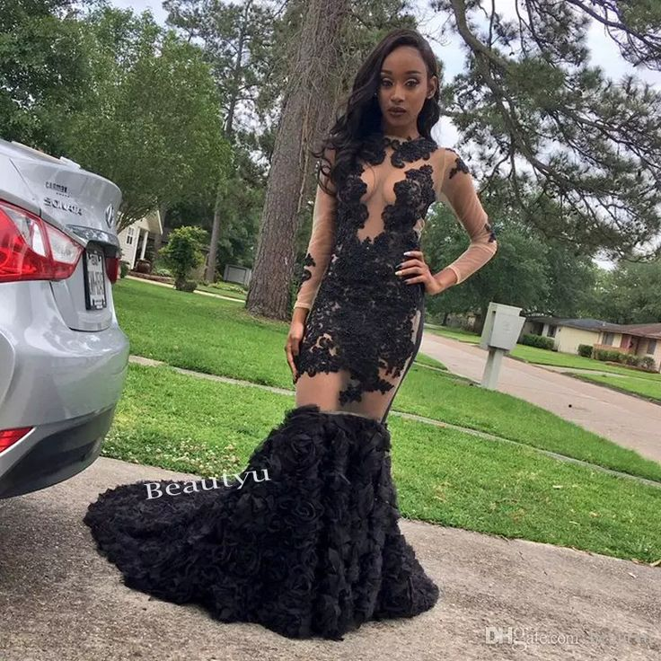 Sexy Illusion Bodice Lace Mermaid Dresses Evening Wear 2017 Long Sleeves South Africa Dubai Beaded 3D Floral Appliques Skirt Prom Dress Gown Evening Dresses Fast Shipping Long Evening Dresses Custom Made Party Dresses With Sleeves Online with $236.58/Piece on Beautyu's Store | DHgate.com