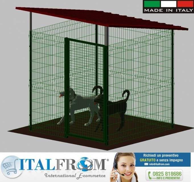 Gabbia box recinto modulare cani in rete metallica tetto lamiera