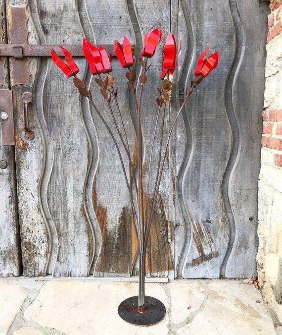 Red Flower Ocotillo,Sculpture,garden art,yard art,garden