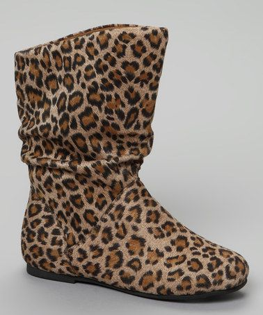 Take a look at this Leopard Slouchy Kali Boot by Little Diva by Legend Footwear on #zulily today! #fall
