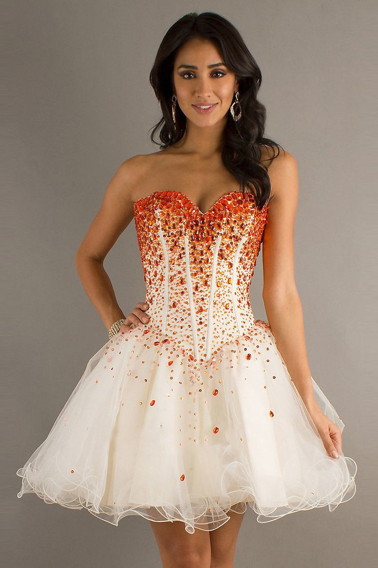 2014 New Arrival Homecoming Dresses A Line Sweetheart  Tulle With Colorful Rhinestones