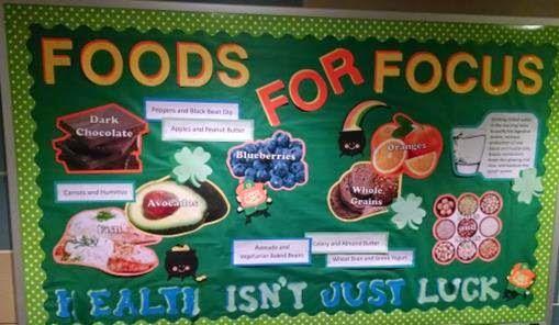 Mar East Campus Winner: Sullivan RA Alyssa Suhm's bulletin board Foods for Focus