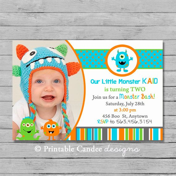 Little Monster Birthday Invitation - DIY Custom Printable