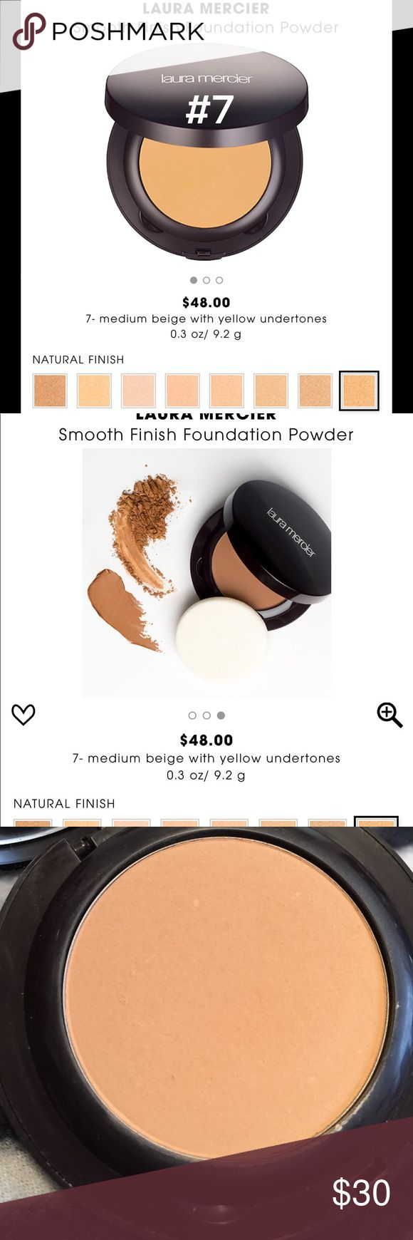 laura mercier smooth finish powder foundation #7 laura mercier smooth finish powder foundation ~ shade is #7- medium beige with yellow undertones ~ used a couple of times/still full ~ no box ~ 💯% authentic laura mercier Makeup Foundation