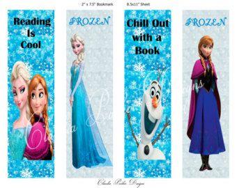 Frozen Book Marks, DIY Printable, Frozen party favors, Frozen BookMark, Anna and Elsa, Olaf Disney