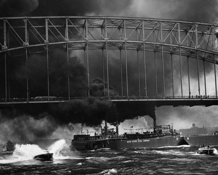 June 3, 1951: We love this image because it combines three elements that, for better or worse, define Pittsburgh's past — rivers, big steel bridges and lots of thick, black smoke. The picture was made during a race between two steamboats, the William Larimer Jones and the Homestead, along a 3.1-mile course on the Ohio and Monongahela rivers.