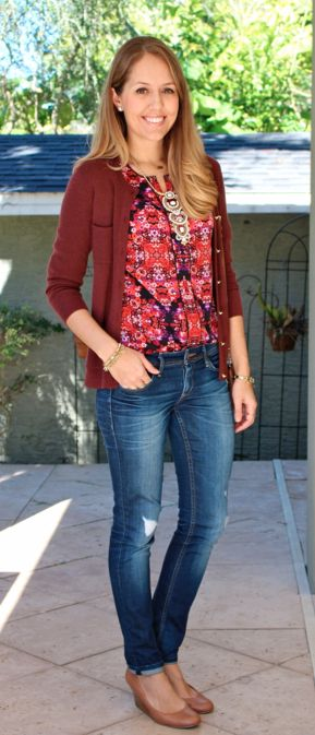 J.Crew Factory printed top with cardigan and jeans