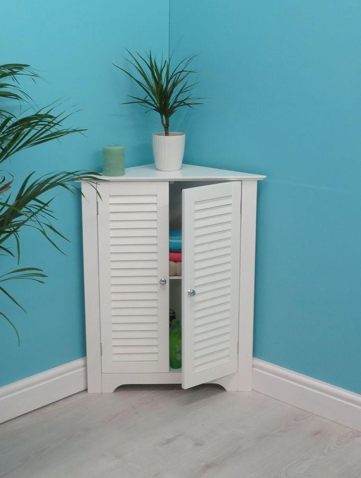 Aspect 64.5 x 46 x 79.5 cm MDF Odense Bathroom Corner Storage Cabinet, White