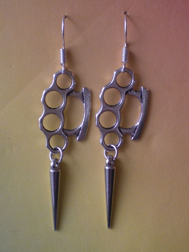 Brass Knuckle Duster and Spike Earrings Punk Jewelry Gothic Jewelry