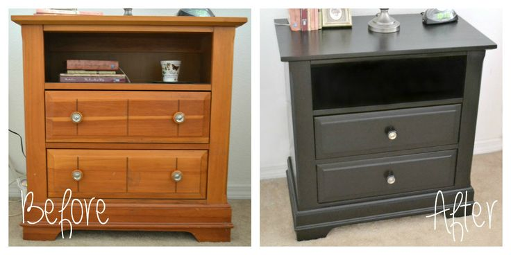 It's A Mom's World: My $40 Nightstands Makeover Using Black Stain