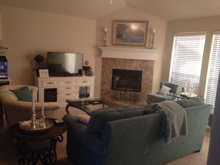 Corner fireplace layout interior decorating ideas - Living room layout with corner fireplace ...