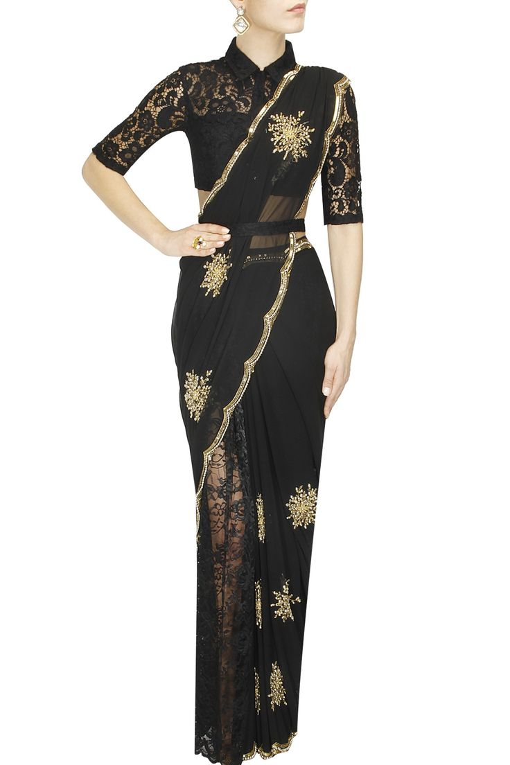 OHAILA KHAN Black firework embroidered pre draped sari available only at Pernia's Pop Up Shop.