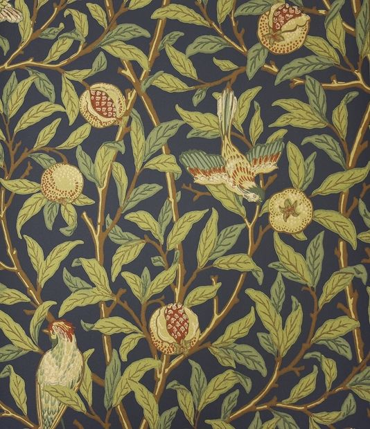 Bird And Pomegranate Wallpaper A blue wallpaper featuring birds nestling in fruit bearing pomegranate trees.