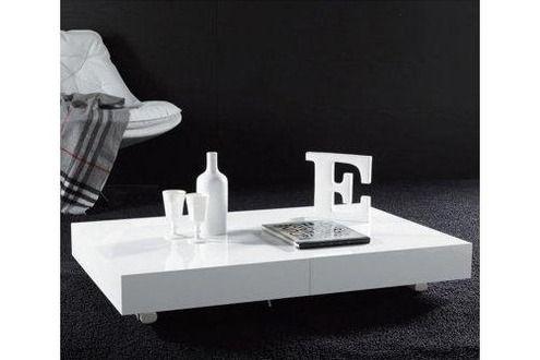 Table Inside 75 Table basse relevable extensible BLOCK design blanc brillant