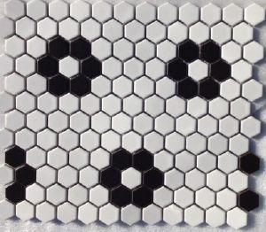 grès émaillé haxagone forme de fleur blanc et noir - Achat d'émaux