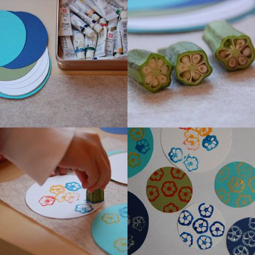 Okra printing -- maybe use this when we do the letter V for vegetables painting with vegetables. This activity can also be used to make thank you cards during writer's workshop.