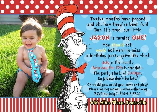 124 best dr. seuss party images on pinterest | dr suess, birthday, Birthday invitations