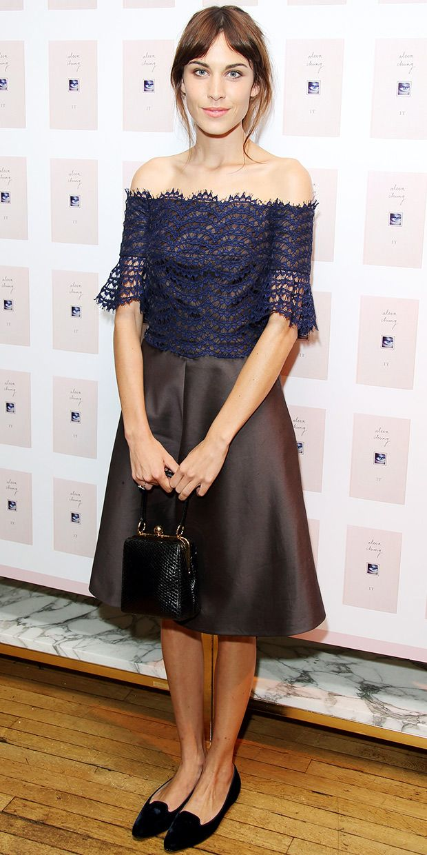 Alexa Chung - Carven dress, Dolce & Gabbana bag Manolo Blahnik Sharif Smoking Flats